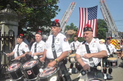 Memorial Day 2012: The Greater Boston Fire Brigade band entered Cedar Grove Cemetery's gates this morning. Photo by Bill Forry