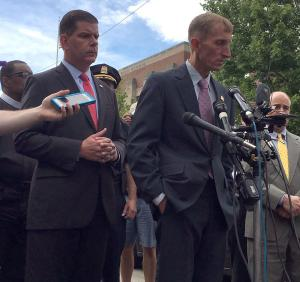 Mayor Walsh, Commissioner Evans speak about shooting death of student near Burke High School on Wednesday afternoon.: Jennifer Smith photo