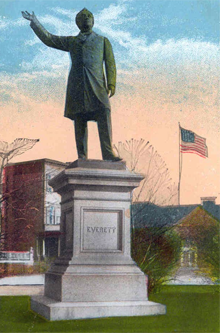 Edward Everett statue: From a turn-of-the-century postcard.