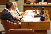 Council committee hears plan for crackdown on problem properties: Councillor Ross and Feeney confer during the hearing on Wed., July 6. Photo by Callum Borchers