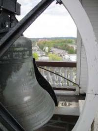 First Parish Church bell on Meetinghouse Hill: Among many that will ring this afternoon to mark Charter Day. Photo courtesy First Parish Church