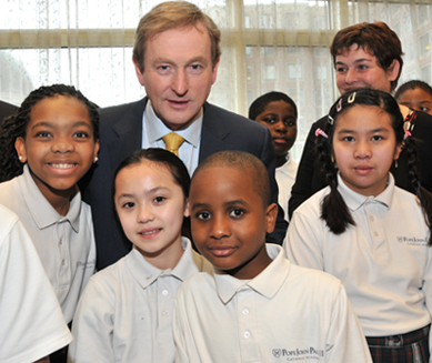 Irish PM Enda Kenny with Pope John Paul II Catholic Academy students