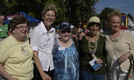 Elizabeth Warren campaigns in Adams Corner