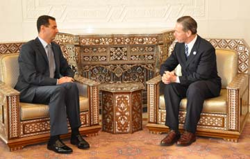 Lynch Meets Assad: Congressman Steve Lynch met with President Bashar al-Assad during a visit to Syria in 2009. Photo courtesy Congressman Lynch's office