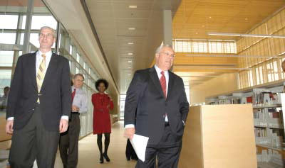Mayor Tom Menino, right, took a tour of the new Mattapan branch of the Boston Public Library.: With Joe Mulligan, left, the Deputy Director of the city's Capital Construction division. Photo by Bill Forry .