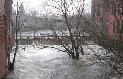 Neponset River in Lower Mills around 5 p.m., Sunday