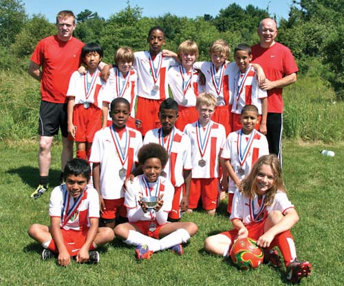 U11 Soccer: The Under 11 Dorchester Force team includes: front row (l-r)Eric Barrios, Ideal Lobo, Oliver Culliton; middle, Soree Kaba, Clayton Rodrigues, Eben Butler, Dana Monteiro; and back row, Coach Phil Keane, Andrew Wong, Finn O'Brien, Radley Theolien, Owen Smyth, Owen Murray, Isaac Gebrewolde, Coach Dan Murray.