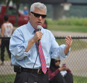 Dan Conley: Suffolk County DA spoke during an annual youth soccer tournament he sponsored at Pope John Paul II Park this month. Photo by Bill Forry