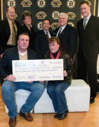 Matt Sweeney, who has served as president of the Dorchester Youth Hockey program for the last three years, and his wife Jill accepted a grant from the Mike Cheever Grow Hockey Development program on March 10 at TD Garden. Also on hand to present the awards were co-chairs Jim Maimone,  Ellie Cheever, Tom Songin,  Steve Palmacci, and Bob Sweeney.