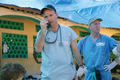 Matt Casey: Caritas Carney physician assistant and Dorchester resident Matt Casey, right,  is shown alongside Caritas Christi Health Care's Dr. Mark Pearlmutter in the Haitian town of Milot last month.  Caritas Carney Hospital photo.