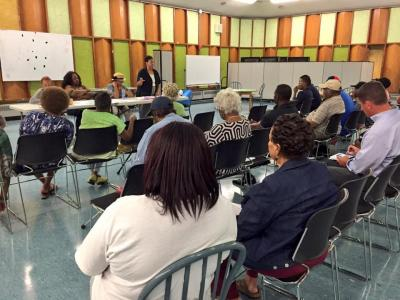 Civic meeting: The Colorado Street Citizens Group met at the Mattahunt School last month. Photo courtesy Rep. Dan Cullinane