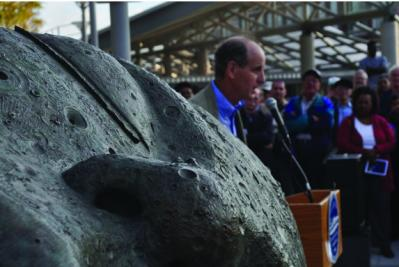 Sleeping Moon dedicated : Joe Wheelwright spoke about his sculpture during a ceremony in 2010