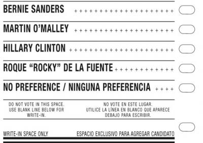 Democratic presidential primary ballot- March 1, 2016