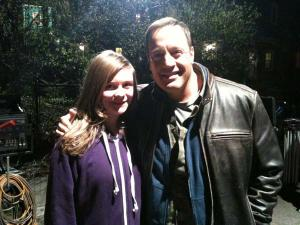 "Adrianne Page, 11, posed for a photo with actor Kevin James at her aunt Stephanie Page's home on Ashmont Hill last Thursday night. James was at the home to shoot a scene of the film ""Here Comes the Boom."" Photo courtesy Stephanie Page"