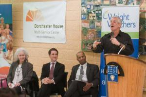Boston comedian Lenny Clarke, a spokesman for Weight Watchers, discussed his own weight loss during a press conference at Dorchester House Mutli-Service Center on Tuesday. Photo courtesy 	Don Harney/Mayor's Office