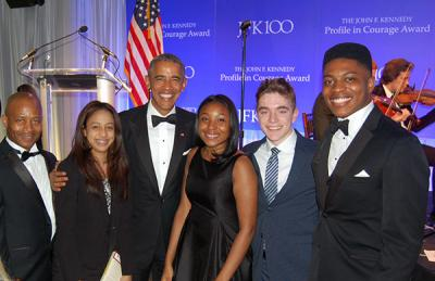 President Obama with Boston students at the JFK Library: Boston International Newcomers Academy