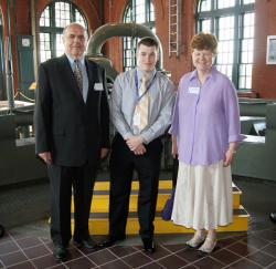 Left to right: MWRA Deputy Director of Operations Marcis Kempe, essay contest winner Dennis Leahy and his teacher, Katherine Fogarty, Boston Latin Academy. The award was presented to Leahy during a ceremony on May 27 at Deer Island. Photo courtesy MWRA