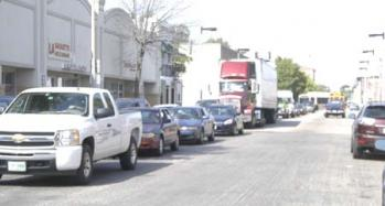Traffic mess: Cars and trucks were stacked up at 2:15 on Tuesday on Dorchester Ave. southbound near Glover's Corner.