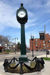 Peabody Square tribute to Richard family: Neighbors stopped the clock to reflect the time that a bomb killed 8 year-old Martin Richard and wounded his mother and sister in Boston on Monday, April 15. Photo courtesy Friends of Peabody Square