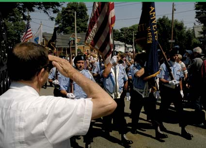 Memorial Day 2010: The color guard of the John P. McKeon Post entered Cedar Grove Cemetery this morning, May 31, 2010. Photo by Bill Forry