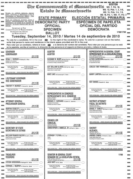 Sample Ballot- Sept. 14, 2010 election