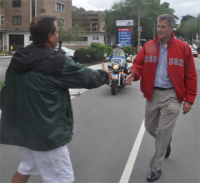 Sen. Scott Brown: Walked the Dot Day Parade last June, as did his Democratic challenger, Elizabeth Warren. Photo by Bill Forry