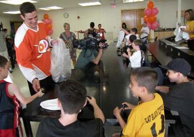 Tyler Seguin at Leahy-Holloran Community Center: The Bruins center handed out pucks and opening day tickets on Tuesday. Reporter photo by Pat Tarantino