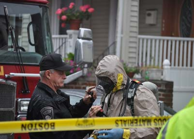 "HazMat crew on Semont Rd.: Boston Firefighters spent the morning investigating an ""irritant"" found in the air inside 14 Semont Rd. Photo by Ed Forry"