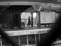 Savin Hill station, 1998: The old platform was held up in places by two-by-fours. Photo by Bill Forry