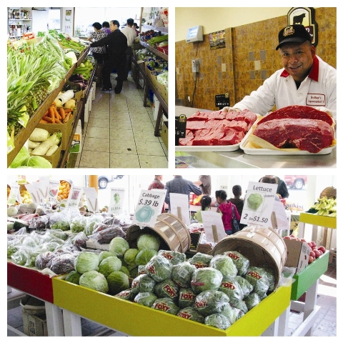 Dot Cornucopia: Top left: Fresh and affordable veggies at A.C. Farm Market, 1429 Dorchester Ave.; Top right: Ramon Perez, butcher at Brother's SUpermarket, 776 Dudley St.; Bottom: A Haymarket fell at New Market Farm Stand, 1299 Massachusetts Ave.