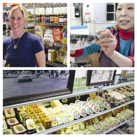 dotcornucopia2: Top left: Kristine Hoag, owner of Savin Hill Supply, 99 Savin Hill Ave.; Top right: Jeanie Kim, fishnoger at Kim's Fish Market, 551 Washington St.; Bottom: Chese and history at Lambert's Rainbow Fruit Co., 777 Morrissey Blvd.