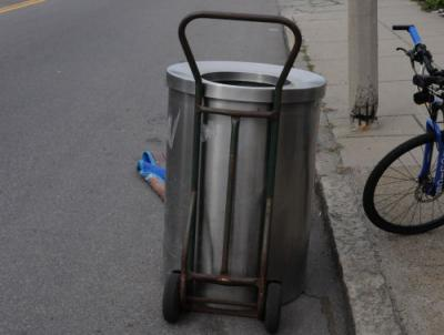 Stolen trash can recovered. Photo by MBTA.