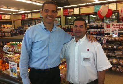 Team Tedeschi: Tedeschi's V.P. Joe Hamza, left, with Peabody Square Tedeschi's franchise owner Khalid Abboud.