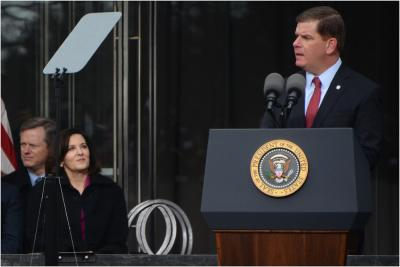 Mayor Walsh speaks at EMK Institute dedication: Photo by Chris Lovett