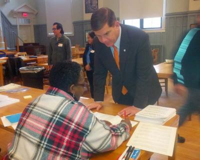 Mayor Walsh votes in Savin Hill, Nov. 4, 2014: Photo by Mike Deehan