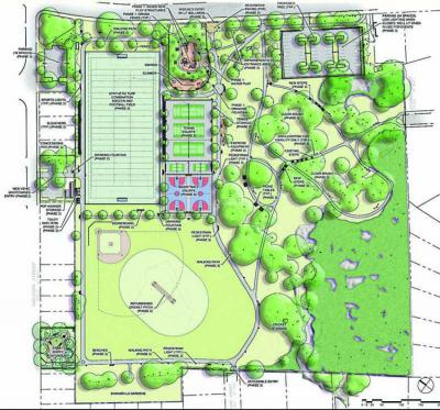 Almont Plan: This map of Almont Park shows the wide mix of uses that are included in the current improvement project at the 17.05 acre park in Mattapan. Image courtesy City of Boston