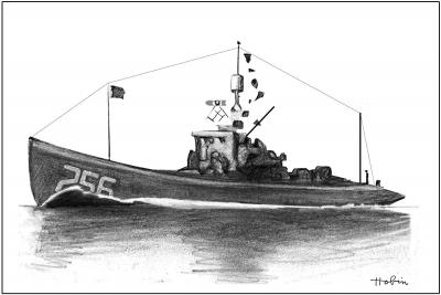 THE SUBMARINE CHASER. 110 foot length and 16 foot beam: Two officers and twenty-four men: Triple screw, with three 6-cylinder, 220 hp, gasoline engines;  Top speed: 12 knots; cruising range: 1000 miles;  Armament: two 3 inch / 23 caliber guns, two machine guns, browning automatic rifles, and six depth charges.