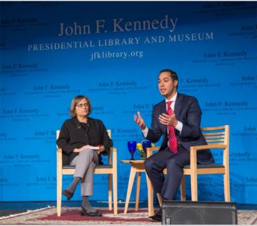 HUD Secretary Julián Castro: At left: Moderator Renee Loth. Photo by Tom Fitzsimmons/JFK Library