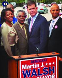 Dorcena Forry stands with Walsh: The state senator endorsed her State House colleague in a Mattapan Square press conference. Image courtesy Walsh campaign