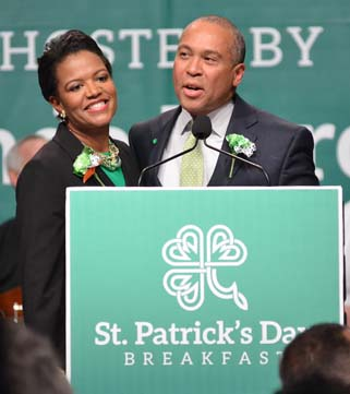 "Sen. Forry with Governor Patrick: The governor quipped: ""Have a good look everybody. This is what a Forry and a Patrick looks like these days."" Photo © Don West"