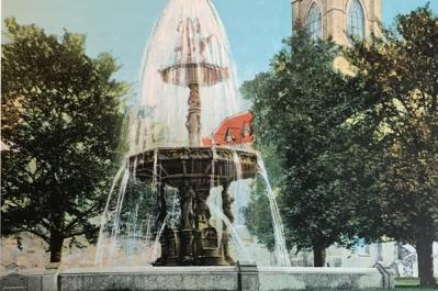 Lyman Fountain: The original fountain as it looked at the turn of the 20th century. St. Peter's Church is visible in the background of this postcard. Courtesy: Dorchester Historical Society/Earl Taylor