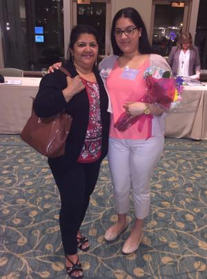 Stand-out student and club member: Mishaliz Melo with her grandmother, Maribel Pereira, at the New England Women's Leadership Awards in May.