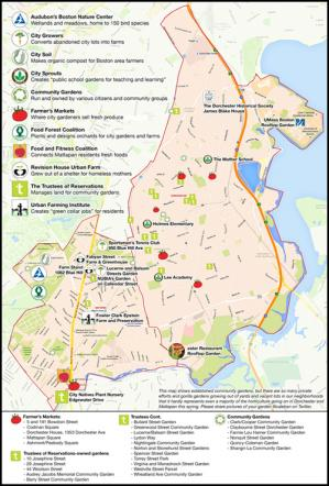 Dorchester and Mattapan: Garden and Farm Map: Click top open as PDF. Image by Caleb Nelson