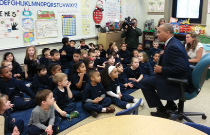 Gov. Patrick was the mystery reader at Pope John Paul II Catholic Academy-Neponset on Thursday. Photo courtesy Carla Tankle