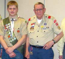 Dot's newest Eagle Scout: Martin Chomicki, left, with Scoutmaster Joe Barry