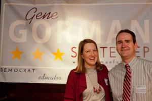 Gorman: Gene Gorman is shown with his wife Dr. Terri Gorman during his campaign's kick-off event at the Harp and Bard restaurant.