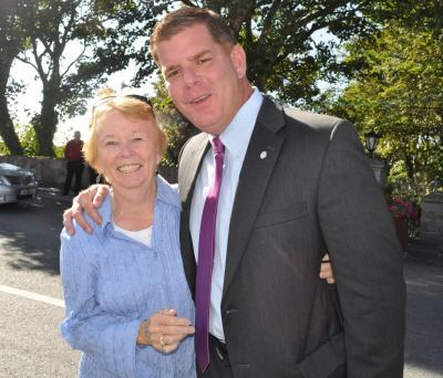 Mayor Marty Walsh and Mary Goode in Carna: Photos with the mayor came fast and furious throughout his four day swing through his parents' hometowns in Connemara, a coastal region of western Galway. All photos by Bill Forry