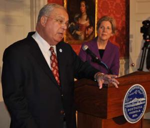 Mayor Menino and Senator Warren: Talking gun control last week at the Parkman House. Photo by Bill Forry