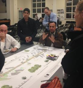 Mt. Vernon Street meeting on Nov. 5.: Residents and stakeholders got hands on in reviewing BRA plans for a re-design of Columbia Point's main drag. Photo by Eliza Dewey