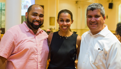 DSNI leaders: From left, Board Member Valduvino Gonçalves, Board Chair Keila Barros, and Executive Director Juan Leyton. Eric Haynes photo